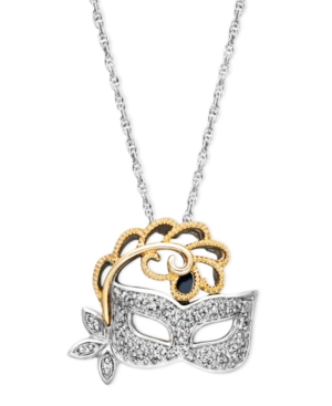 Sterling Silver and 14k Gold Necklace, Diamond Accent Mask Pendant