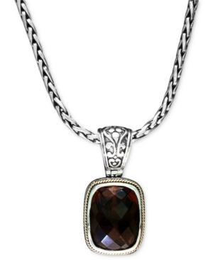 Balissima by Effy Collection 18k Gold and Sterling Silver Necklace, Smokey Quartz Rectangle Pendant (9-1/4 ct. t.w.)
