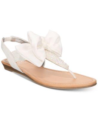 Material Girl Swan Flat Thong Sandals