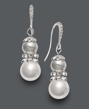 Charter Club Earrings, Silver Tone White Bead Three Row Drop
