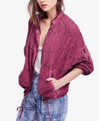 Free People Daisy Jane Cotton Embroidered Bomber Jacket