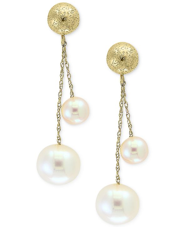 EFFY Collection Pearl by EFFY® Cultured Freshwater Pearl (5mm & 8mm) Drop Earrings in 14k Gold