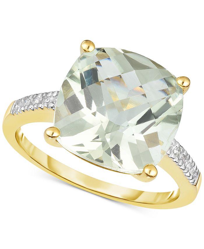 Macy's - Green Quartz (5 ct. t.w.) & Diamond Accent Ring in 14k Gold