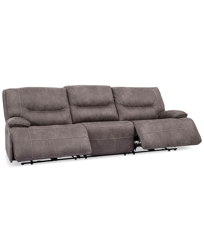 Furniture - Felyx 116'' 3-Pc. Fabric Sectional Sofa With 2 Power Recliners, Power Headrests And USB Power Outlet