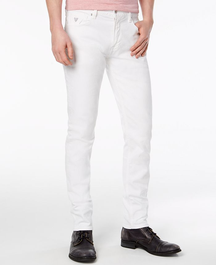 GUESS - Men's Slim-Tapered Fit Stretch White Jeans