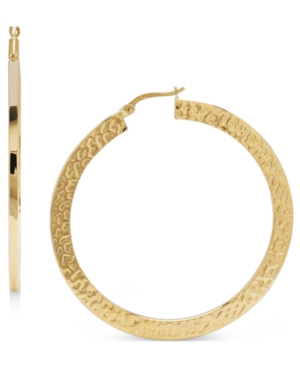14k Gold Earrings, Large Flat Hammered Hoop