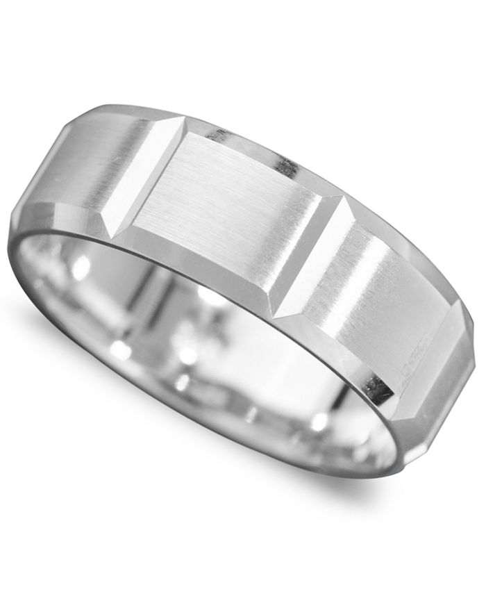 Macy's - Men's 14k White Gold Ring, Vertical Cut Band (Size 6-13)