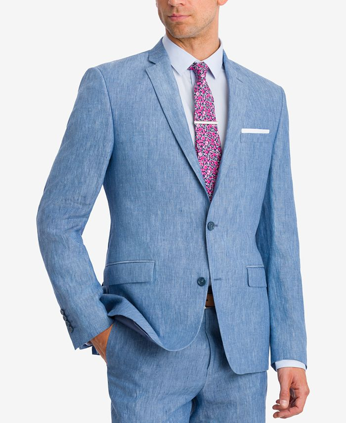 Bar III - Men's Slim-Fit Blue Chambray Suit Jacket