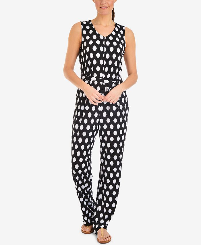 NY Collection - Polka-Dot Tie-Waist Jumpsuit
