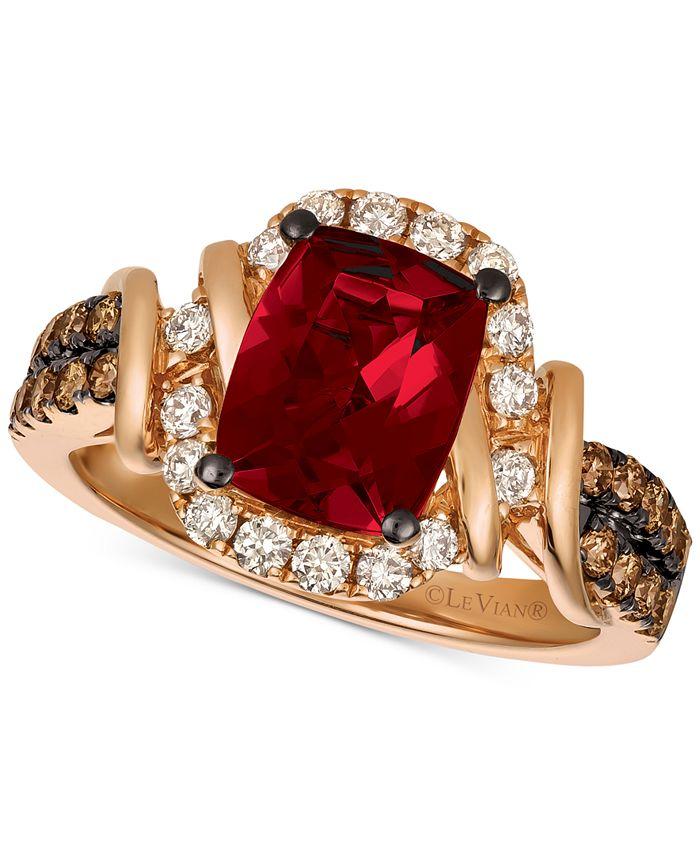 Le Vian - Raspberry Rhodolite® (1-9/10 ct. t.w.) & Diamond (5/8 ct. t.w.) Ring in 14k Rose Gold
