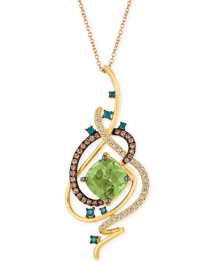 """Le Vian - Mint Julep Quartz™ (3-1/4 ct. t.w.) & Diamond (3/4 ct. t.w.) 18"""" Pendant Necklace in 14k Gold"""