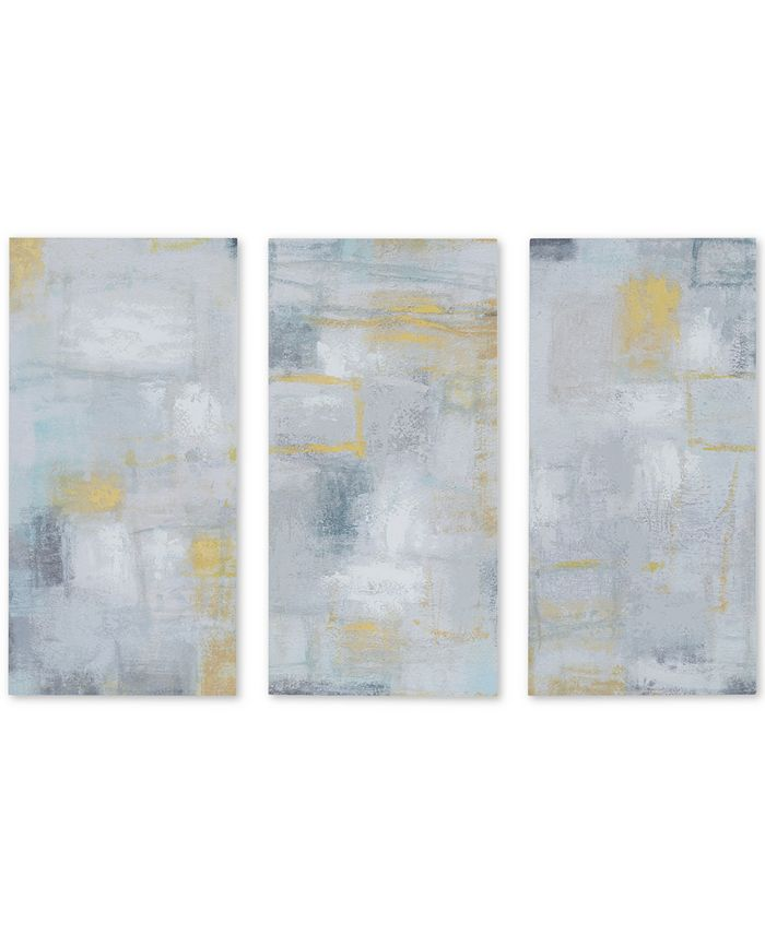 JLA Home - Madison Park Abstract Blocks 3-Pc. Hand-Embellished Gel-Coated Canvas Print Set