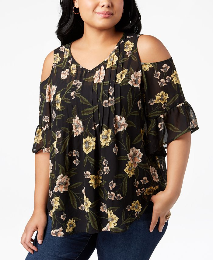 Style & Co - Plus Size Printed Pleated Cold-Shoulder Top