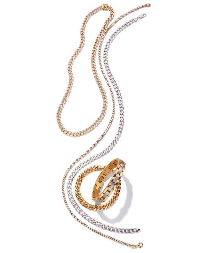 Macy's Men's Diamond (1/4 ct.t.w.) Bracelet in Stainless Steel and Yellow IP & Reviews - Bracelets - Jewelry & Watches - Macy's