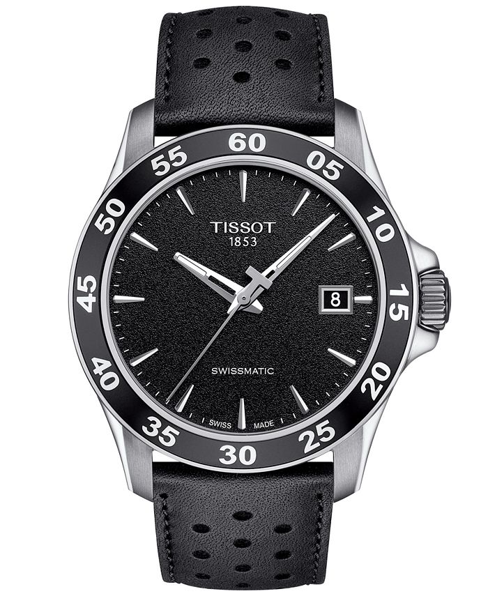 Tissot - Men's Swiss Automatic T-Sport V8 Black Leather Strap Watch 42.5mm