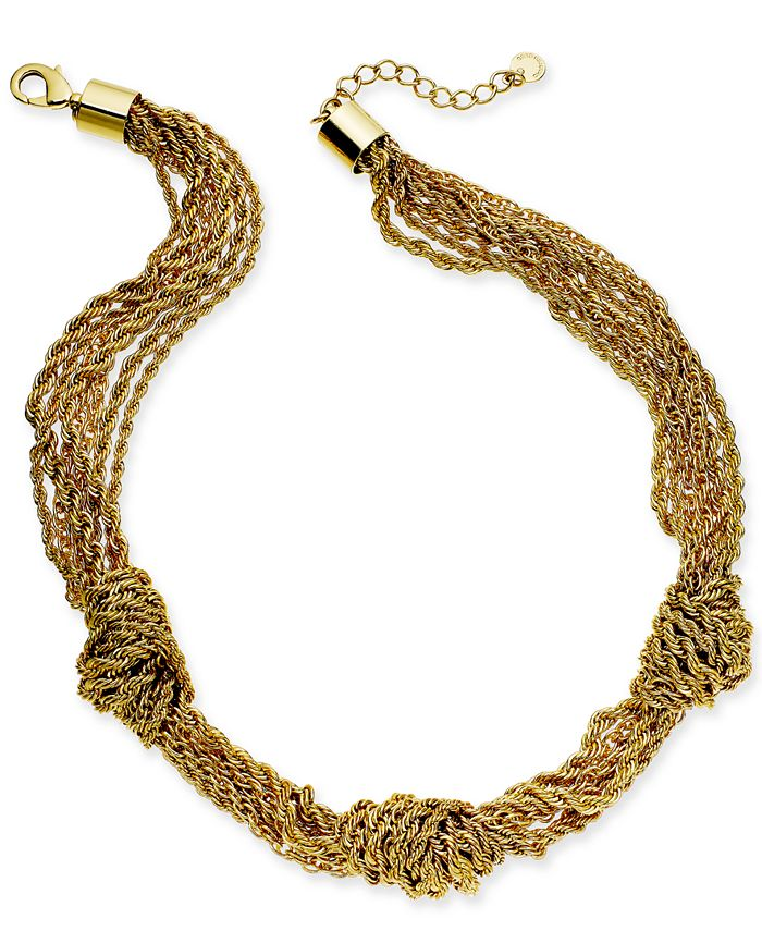 """Charter Club - Gold-Tone Multi-Chain Knotted Collar Necklace, 17"""" + 2"""" extender"""