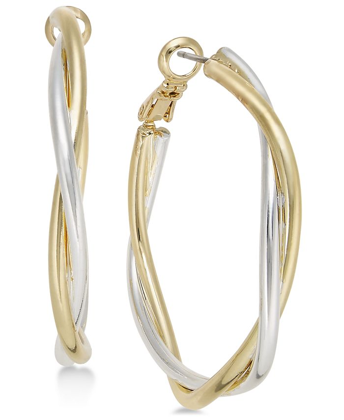 Charter Club - Two-Tone Twisted Hoop Earrings, Created for Macy's