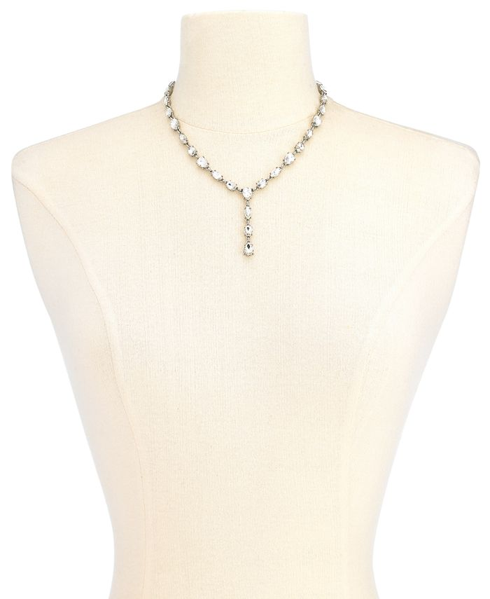 "Charter Club - Silver-Tone Crystal Lariat Necklace, 17"" + 2"" extender"