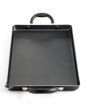 "Martha Stewart Collection Double Burner Griddle, 18"" x 10"" Black Porcelain Enamel Nonstick"