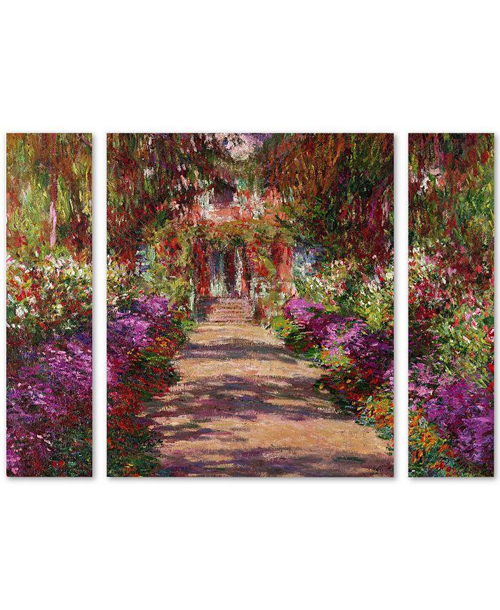 Trademark Global - Claude Monet 'A Pathway in Monet's Garden' Large Multi-Panel Wall Art Set