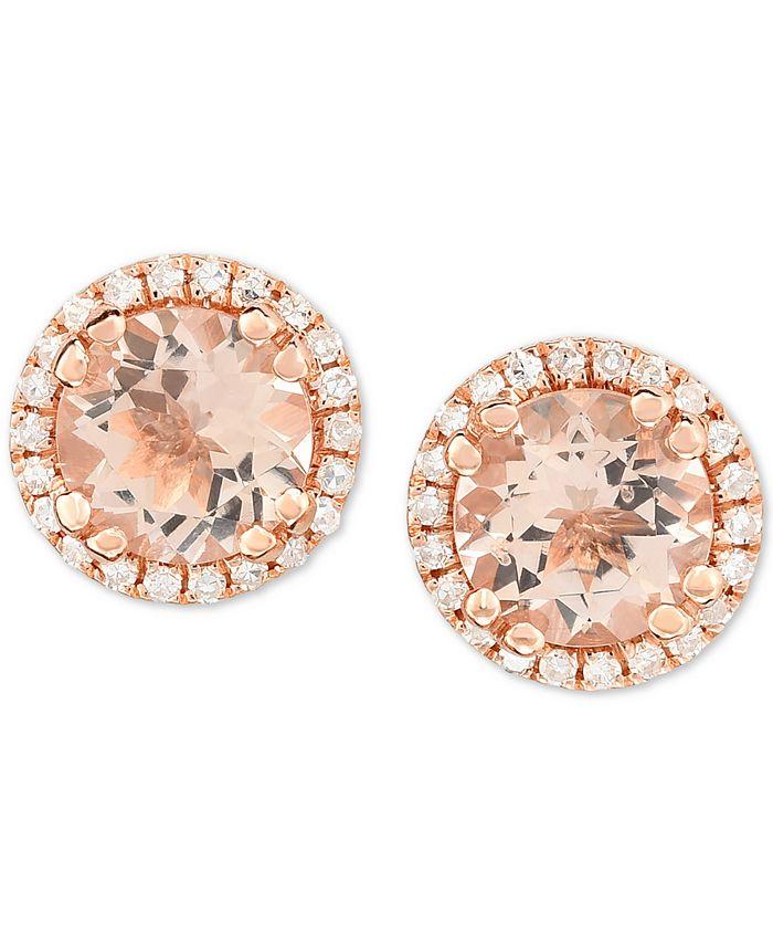 Macy's - Morganite (3/4 ct. t.w.) & Diamond (1/8 ct. t.w.) Stud Earrings in 14k Rose Gold