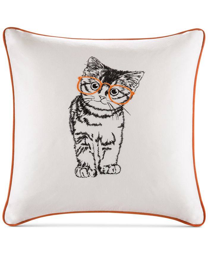 "HipStyle - Artemis 20"" Square Cat Embroidered Decorative Pillow"