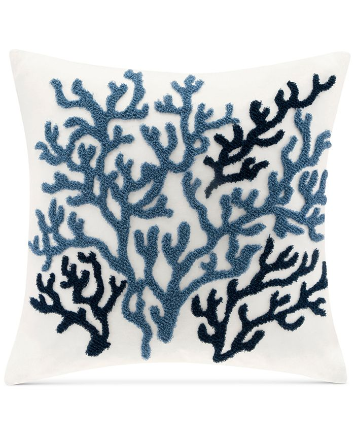 """Harbor House - Beach House Embroidered 18"""" Square Decorative Pillow"""