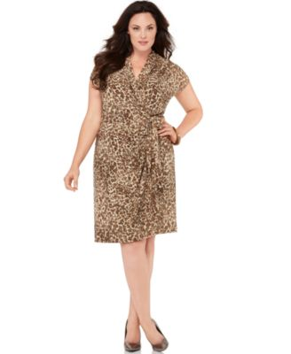 AK Anne Klein Plus Size Dress, Short Sleeve Printed Wrap