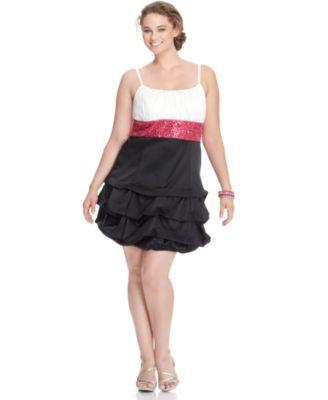 Ruby Rox Plus Dress, Sleeveless Tiered Ruffled Empire