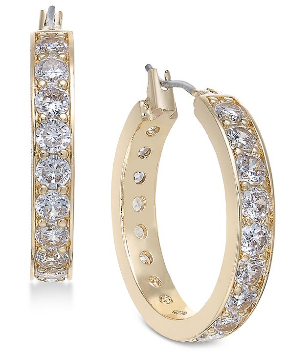 Charter Club Gold-Tone Crystal Small Hoop Earrings  s, Created for Macy's