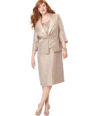 Jessica Howard Plus Size Dress and Jacket, Sleeveless Beaded Scoop Neck