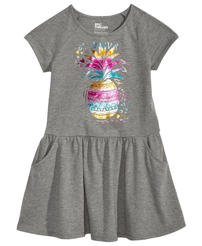 Epic Threads - Pineapple-Print Drop-Waist Dress, Toddler Girls