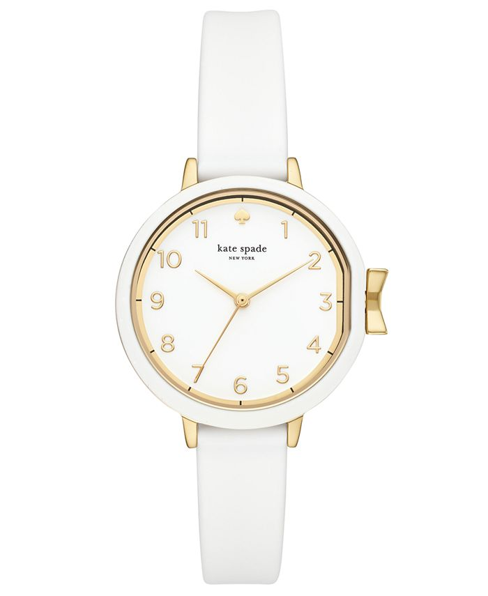 kate spade new york - Women's Park Row White Silicone Strap Watch 34mm