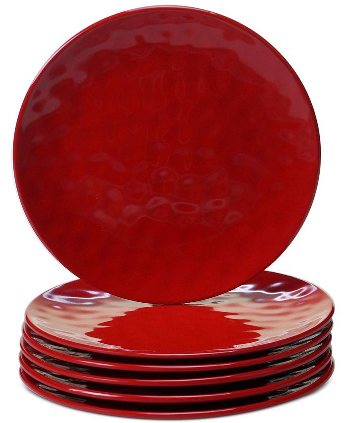 Certified International - 6-Pc. Red Melamine Salad Plate Set