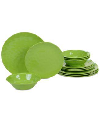 Green Melamine Dinnerware, 12-Pc. Set
