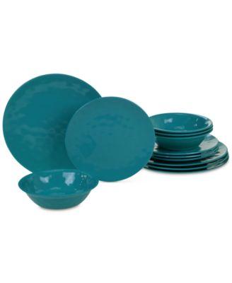 Teal Melamine 12-Pc. Dinnerware Set, Service for 4
