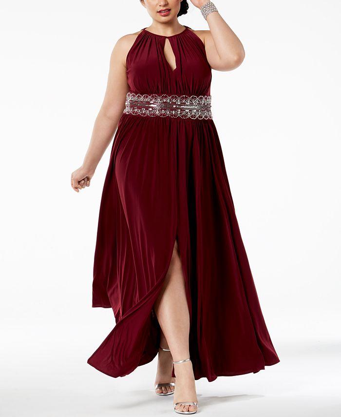 R & M Richards - Plus Size Dress, Sleeveless Beaded Evening Gown