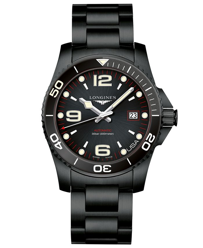 Longines - Men's Swiss Automatic HydroConquest Black PVD Stainless Steel Bracelet Watch 41mm