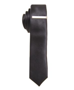 Alfani RED Tie, Solid Sateen Skinny Tie with Tie Bar