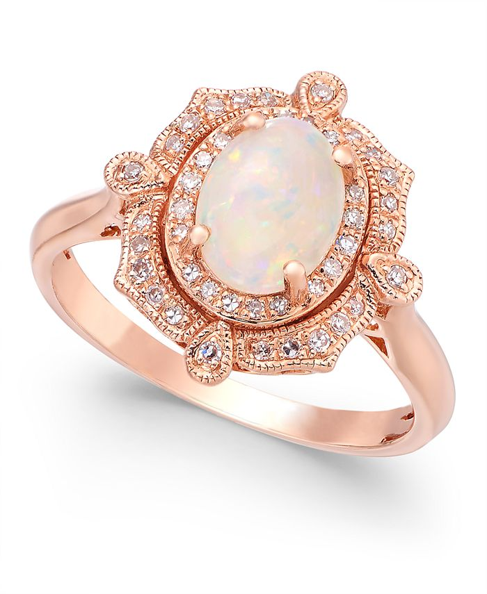 EFFY Collection - Opal (5/8 ct. t.w.) and Diamond (1/6 ct. t.w.) Oval Ring in 14k Rose Gold