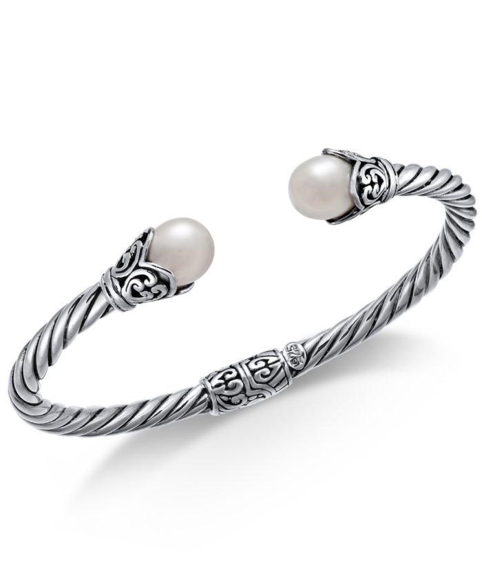Macy's Cultured Freshwater Pearl (8mm) Filigree Bangle Bracelet in Sterling Silver & Reviews - Bracelets - Jewelry & Watches - Macy's