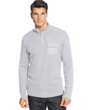 Alfani Shirt, Thermal Waffle Mock Neck