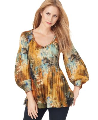 Sunny Leigh Top, Three Quarter Sleeve Printed Empire Waist Babydoll Blouse