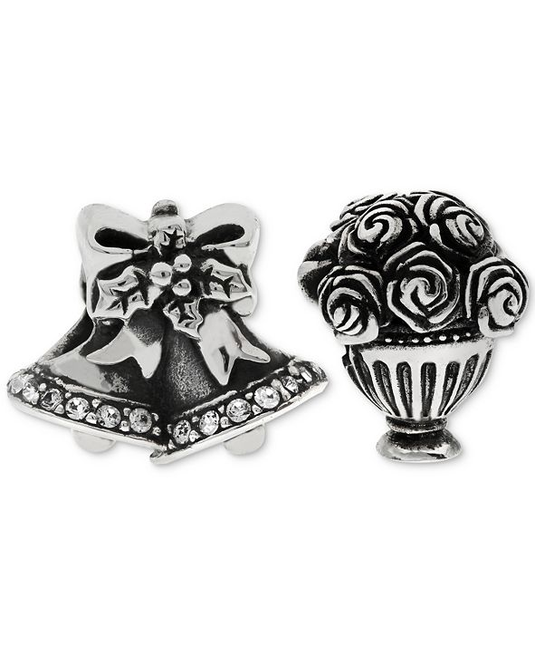 Rhona Sutton 2-Pc. Set Wedding Bells & Bouquet Bead Charms in Sterling Silver
