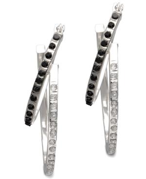 14k White Gold Earrings, Black and White Diamond Accent Luxe Hoop Earrings