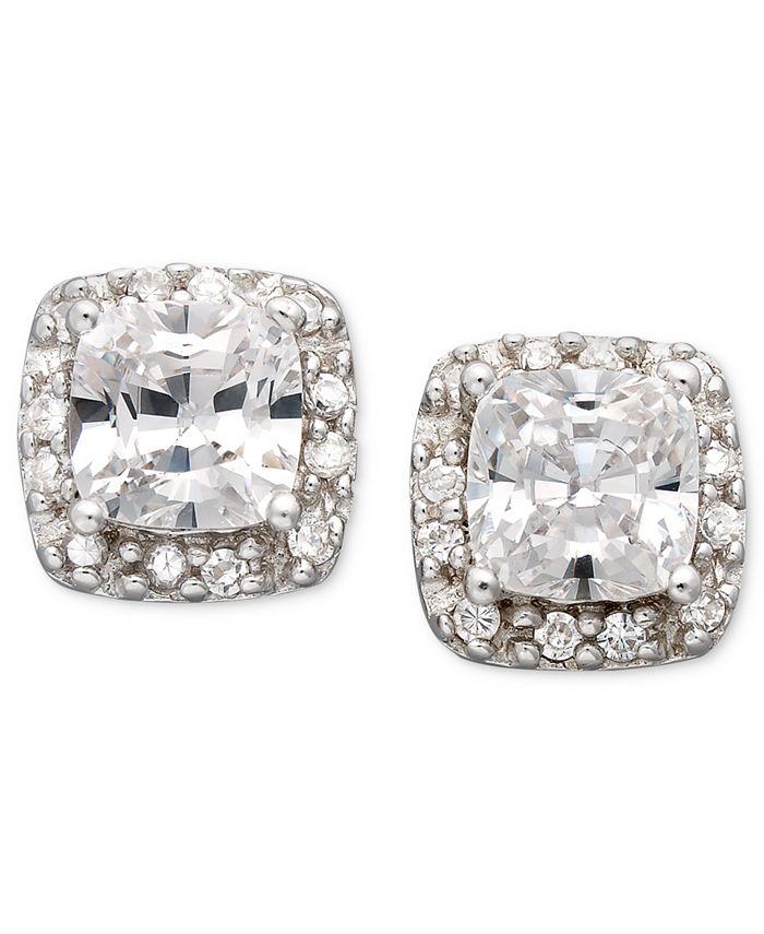 Giani Bernini - Sterling Silver Earrings, Cubic Zirconia Pave Stud Earrings (1-1/2 ct. t.w.)