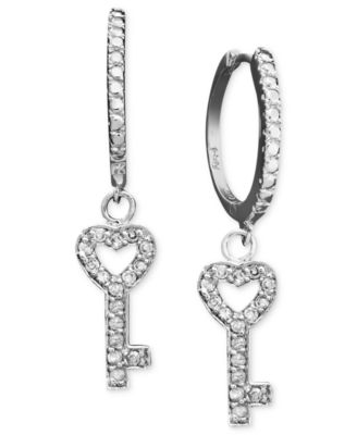 Victoria Townsend Diamond Earrings, Sterling Silver Diamond Key Charm Hoop Earrings (1/10 ct. t.w.)