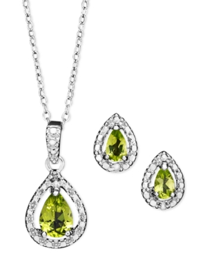 Victoria Townsend Sterling Silver Jewelry Set, Peridot (1-1/5 ct. t.w.) and Diamond Accent Teardrop Pendant and Earrings Set