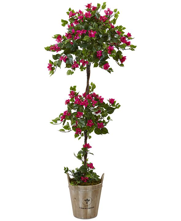 Nearly Natural 5.5' Bougainvillea Artificial Tree with European Barrel Planter