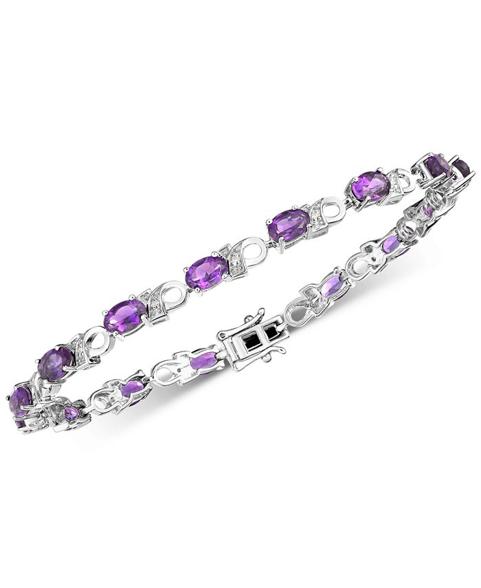 Macy's - Amethyst (6 ct. t.w.) & Diamond Accent Link Bracelet in Sterling Silver (Also available in Garnet, Mystic Topaz & Peridot)